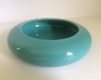 Blue Round Planter, Harris Pottery, Chicago Pottery