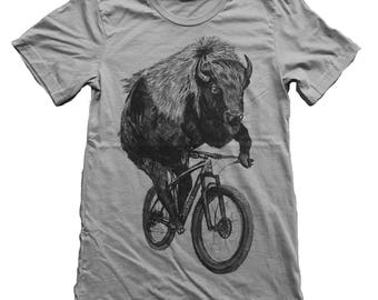 Buffalo on a Bicycle- Mens T Shirt, Unisex Tee, Blended Tee, Handmade graphic tee, Bicycle shirt, Bike Tee, sizes xs-xxl