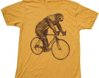 SUMMER SALE Sloth on a Bike - Mens T Shirt, Unisex Tee, Cotton Tee, Handmade graphic tee, Bicycle shirt, Bike Tee, sizes xs-xxl