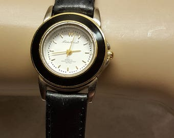 Vintage 1990's Women Eddie Bauer Enamel Crown Watch Gold Hands Working Genuine Leather Band Medium Wrist