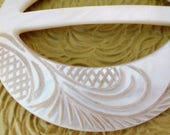 Antique Carved Mother of Pearl Belt Buckle 2.5 inch Early 1900s Vintage