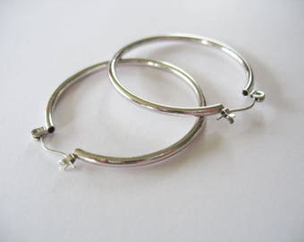 Hoop Earrings, Sterling Silver, Large, Pierced, 1980's, Circles, Round, Silver Hoops, Gift for Her, Gift Box