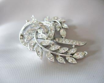 Lisner Rhinestone Brooch, Leaf, Ribbon, Sparkling White Rhinestones, Silver tone, Large, Marquis Shape, Fashion Pin, Holiday wear, Designer