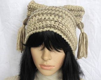 Cat's Ears Hat, Chunky Beige Beanie Hat, Womens Crochet Beanie Hat with Chunky Tassels