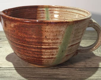 Ceramic Batter Bowl - Mixing Bowl -Kitchen Prep Bowl in Toasted Cream and Honey Brown with green detail   IN STOCK Ready to Ship