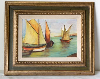 Mid Century Seascape Oil on Board, Sailboat Painting