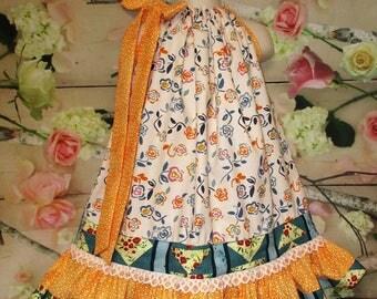 FREE SHIP! Girls Dress 3T/4T Cream, Aqua, Orange, Floral Pillowcase Dress, Pillow Case Dress, Sundress, Boutique Dress