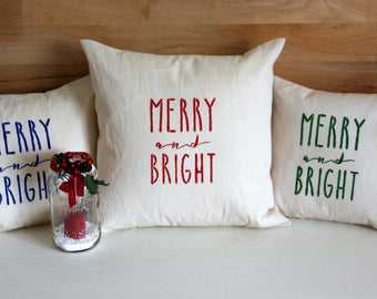Free Shipping - Merry and Bright Christmas Pillow