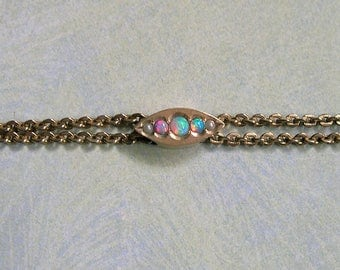 Antique Victorian Slide Chain With Opals and Seed Pearls, Gold Filled Victorian Watch Chain With Slide (#3279)