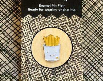 French Fries Pin - Lapel Pin - Gold Enamel Pin - Shiny Gold Metal - Kawaii Flair Pin - Fry Lover - EP2092