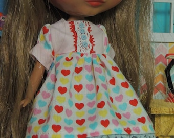 Cute, Multi-colored Heart Dress for Blythe