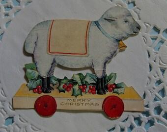 Die Cut Christmas Card, Toy Lamb Die Cut, Christmas Card