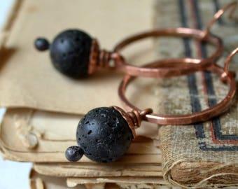 Lava and copper earrings, rustic earrings, boho jewelry - Barren land