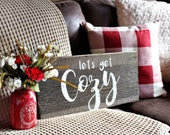 Lets get Cozy Christmas Barn Wood Sign Farmhouse Vintage Rustic Home Decor gift