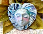 Heart bead supply ceramic - OOAK bead supply -one of a kind necklace bead supply - handmade heart bead - Pottery face bead supply -   # 2