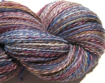 Handspun yarn, Blue Mollusk, 332 yards, DK weight, blue yarn, purple yarn, 2 ply,  Superwash BFL wool, Nylon, sock yarn, knitting supplies