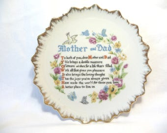 Mother and Dad Plate, Vintage Collectible Plate, Ponderosa Ranch, Gold Trimmed Saucer, Vintage Souvenir, Glass Plate, Hanging Plate, Gift