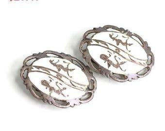Siam Earrings White Enamel Sterling Deities Lightning Vintage