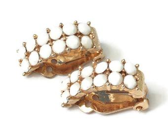 White Milk Glass Bead Earrings Half Hoop Clip On Signed Lisner Vintage