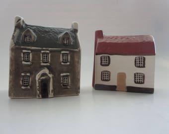 Vintage Miniature Houses - Mulden End Studios Felsham Suffolk Miniature Houses - Clapperboard House & Georgorian House - Made in England