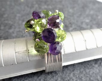 Gemstone Cluster Ring, Amethyst Ring, Peridot Ring, Cocktail Ring, Cha Cha Ring, Silver Adjustable Ring, Karen Hill Tribe Ring, SALE 25 OFF