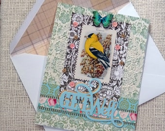 GET WELL - original vintage bird picture - Boho chic - blank greeting card - NO056