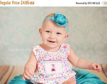 sale Baby Headband Infant Headband Toddler Headband Newborn Headband Teal Turquoise Stretch Elastic Flower Headband Photography Prop Hair Bo