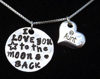 Gift for Aunt, Aunt I Love You to the Moon and Back Necklace, Aunt necklace, New Aunt gift, Gift from Nephew, Gift from Niece,