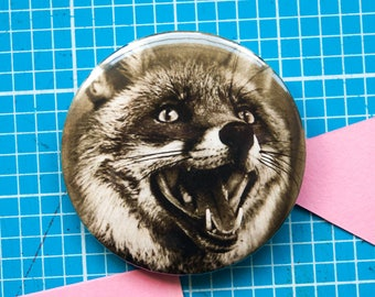 Vintage fox 25mm / 1 inch or 58mm badge / pin