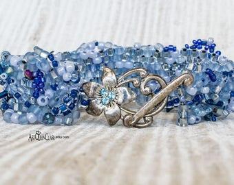 Blue Plus Size Beaded Bracelet - Freeform Peyote Stitch Over Sized Bracelet - Blue Peyote Beaded Bracelet