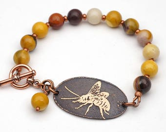 Multicolor bee bracelet, copper and mookaite jewelry, 7 3/4 inches long