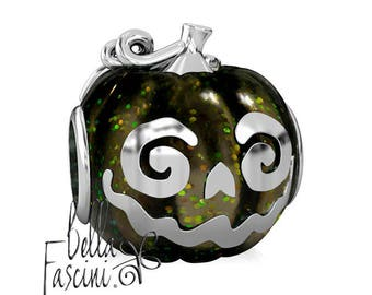Jack Pumpkin Halloween Bead Charm - Black Magic Enamel - 925 Silver - Fits Pandora and Compatible Brand Bracelets - BELLA FASCINI® F-107