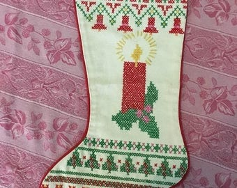 Christmas Sale Vintage Cross Stitch Christmas Stocking House of Hatten Candle Design Counted