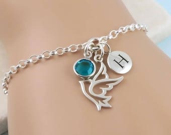 Personalized Dove Bracelet - Sterling Silver Peace Dove, Birthstone and Initial Bracelet