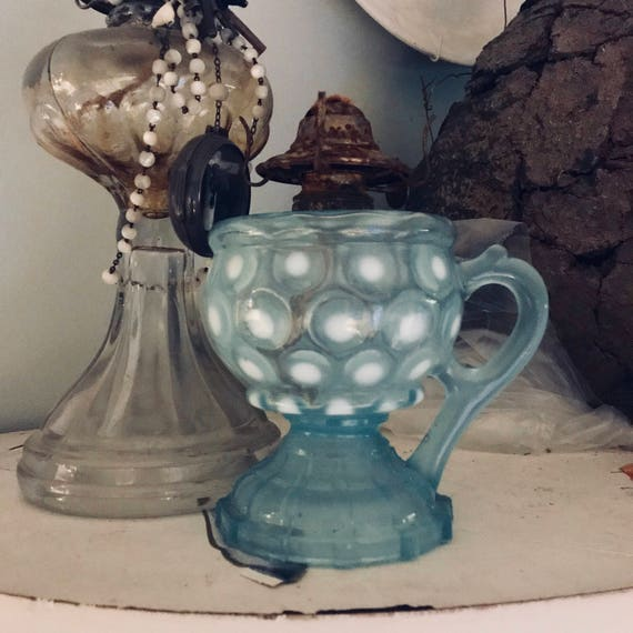 Antique finger lamp, crack, Opalescent and blue coin spot,Fenton, 1800, Original