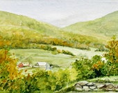 Vermont Town Autumn Landscape Watercolor Picturesque Original