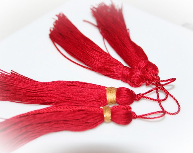 Set of Four Red Tassels. For Crafts, Holiday Projects, Christmas Ornaments, Jewelry Supply.