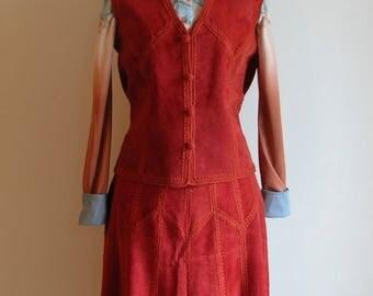 Vintage Orange Patchwork Suede Skirt and Vest