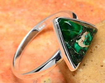 Sterling Silver and Green Turquoise Triangle Ring Size 8