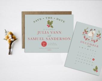 Christmas Save the Date, Portrait Wedding Invitations, Portrait Save the Date, Winter Save the Date, Holiday Save the Date Christmas wedding