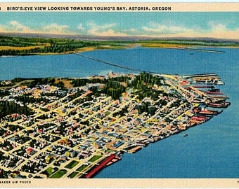 Vintage Oregon Postcard - Aerial View of Astoria and Young's Bay (Unused)