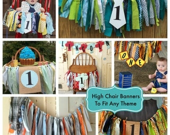 Boys High Chair Banner. Custom Made Boys First Birthday High Chair Decoration, Smash Cake Birthday Party photo Props.  YOU Choose the Colors