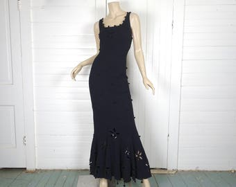 90s Witch Party Dress- 1990s Trumpet w/ Cutout Retro Flowers- Matching Bolero- Cotton Formal Prom Goth- Small / Medium- Long Maxi