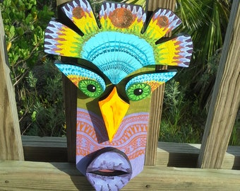 TIKI style TRIBAL king Mask colorful, durable, handmade and painted for indoor or outdoor use. Copper Leaf, rainbow colors.