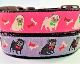 Pugs - Dog Collar / Handmade / Adjustable / Pug / Dogs / Pet Collar / Fawn Pug / Black Pug / dog bow tie / pug life
