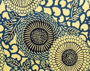 Katazome Washi Japanese Paper Sheet 18x24 inches - Blue daisies on yellow