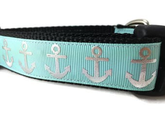 Dog Collar, Foil Anchors Aqua, 1 inch wide, adjustable, quick release, metal buckle, chain, martingale, hybrid, nylon