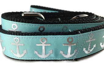 Dog Leash, Foil Anchor Aqua, 1 inch wide, 1 foot, 4 foot, or 6 foot