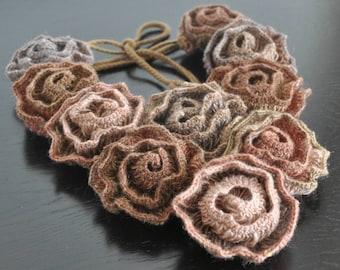 Diana - Fall - Crochet Multicolor Rose Bib Necklace