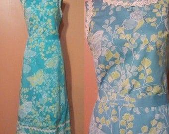 Zuzek Lilly Pulitzer Butterfly Dress / Hand Printed Dress / 70s Summer Maxi Dress